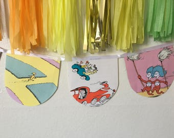 Dr. Seuss banner recycled book