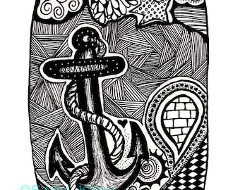 Anchor Zentangle Print