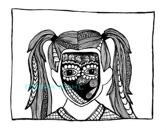 Speechless Girl Zentangle Print