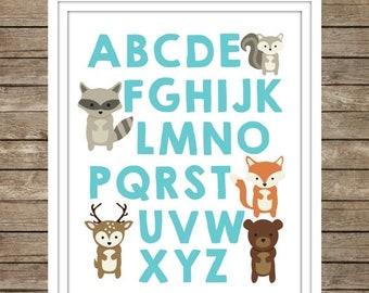 40%OFF Woodland Animals Alphabet Digital Print ~ Instant Download ~ ABC's ~ Nursery Decor ~ Baby Room ~ Woodland Fox Bear Deer ~ Boys