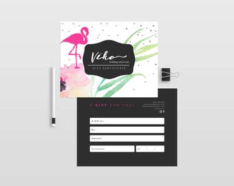 Flamingo double sided gift certificate template - Instant download