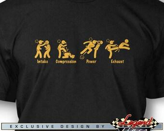 4 Stroke Engine Symbols T-Shirt for Men - Multiple colors available - Size: S - 3 XL - Great Racing & Cool Gift by Legend Lines