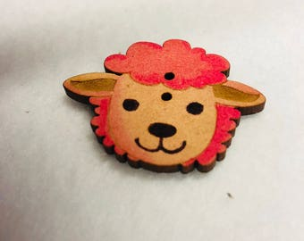 Pink sheep Wood button for patchwork and crafts