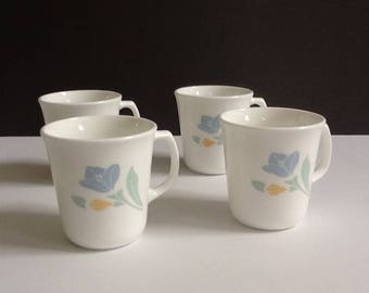 Corelle Friendship Mugs, Set of 4, White & Floral Mugs, Made in USA, 10 Fluid Ounces