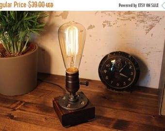 25% OFF SALE Unique Light - Table lamp - Steampunk Light - Industrial Lighting - Vintage Lamp - Edison Lamp - Rustic Lighting - Reading Desk
