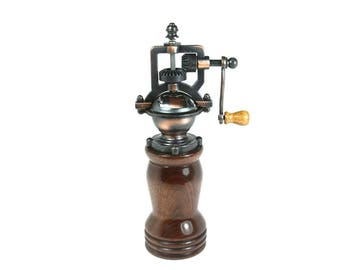 Antique Style Pepper Mill with hand crank mechanism, handmade from Walnut 144C-0002