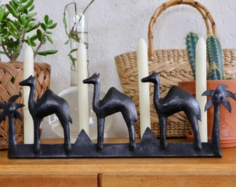 Metal Camels | Metal Camels Candles Standard | Camel Candlestickholder | Metal Palm Tree | Palm trees and Camels | Vintage Camels