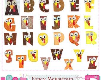 Turkey Letters applique,Thanksgiving Monograms applique,Alphabet,Fonts,Birthday letters,Thanksgiving Letters,Monogram,26 letters.-1493