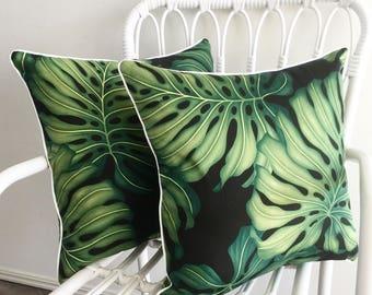 Tropical Cushion Monstera Leaf on Black, Cushions Coussin Pillow Sham Leaf Polynesian Hawaiian Coastal Beach Interior Decor Lounge Bedroom