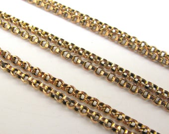 Antique Mid-Victorian Long Guard Chain in 9ct Yellow Gold