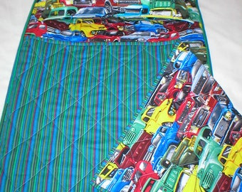 Quilted Cotton Nap Mat with Attached Pillow and Blanket - Ford Pick-Up Trucks - Old and New