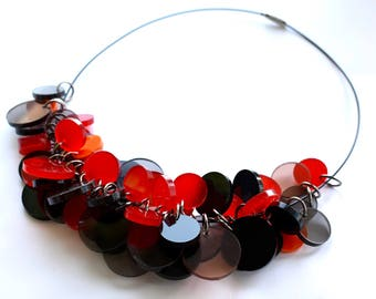 Modern Necklace, Black and Red Plexiglass Necklace, Choker Necklace, Bold Statement Necklace, Minimal Jewelry, Acrylic Bib Necklace