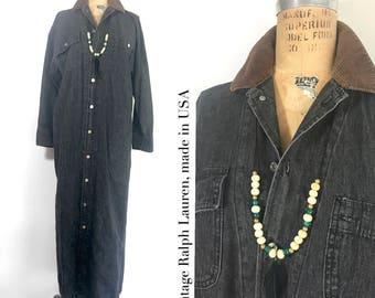 Vintage Polo Ralph Lauren Denim Coatdress 80s black denim with corduroy collar