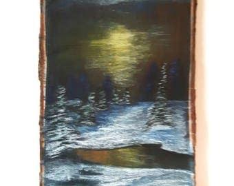 Landscape Art on wood, Winter scene painting by artworkbychristina