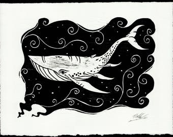 Woodcut Space Whale