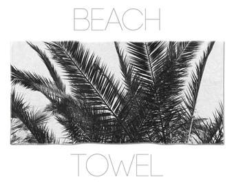 Palm Leaf Decor, Beach Towels, Tropical Towels, Beach Accessories, Large Beach Towel, Black Towel, Black And White, Palm Tree Art