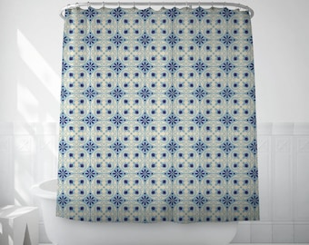 Shower Curtain Barcelona Tile Art, Vintage Pattern, Blue Shower Curtain, Extra Long Shower Curtains, Hookless Shower Curtain
