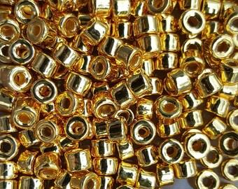 6x4mm Mykonos Greek Ceramic Mini Tube Beads - Gold - Select 10, 25 or 50