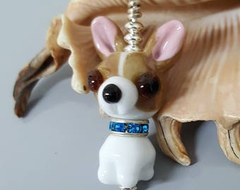 How Cute Am I, Handmade Lampwork Chi Puppy Bead Necklace
