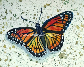 Viceroy Butterfly Watercolor Print ACEO Small Print Miniature Painting Spring Decor Artwork Monarch Picture Insect Illustration Wall Art