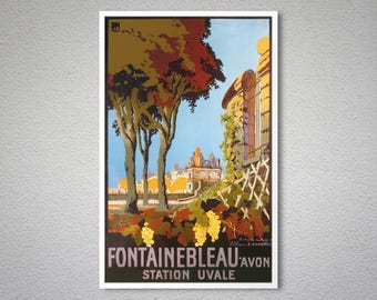 Fontainebleau Vintage Travel Poster - Poster Paper, Sticker or Canvas Print / Christmas Gift