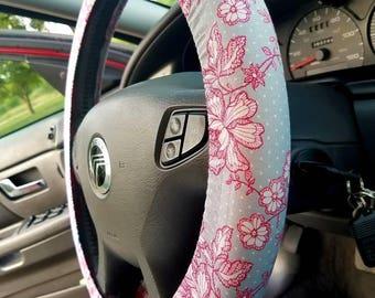 Pink Flower Steering Wheel Cover
