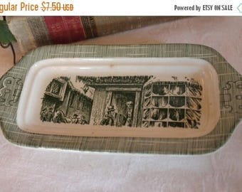 SALE Royal China Company Butter Dish Base Only - Old Curiosity Shop, Green