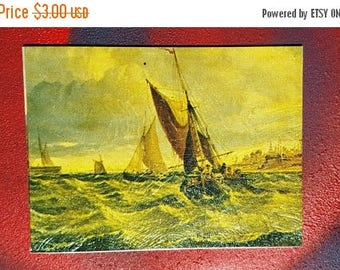 SALE 25% OFF Small Vintage Painting, 60s Painting, Sailboat Painting, Vintage Art