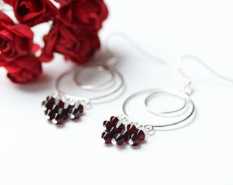 Deep Siam Red Swarovski Crystal Earrings