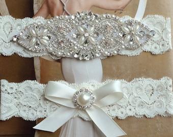 Wedding Garter, Rhinestone and Crystal Garter Set, Ivory Lace Bridal Garter, Pearl Wedding Garter Set, Garter, Rhinestone Applique Garter