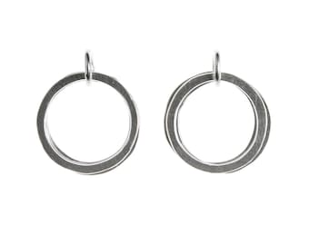 Silver loop earrings, silver hoop earrings, silver circle earrings (free delivery worldwide)