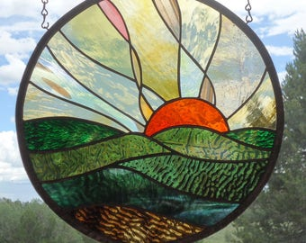 """stained glass window panel""""FOREVER SUNSET """" European hand blown glass, hand poured & rolled glass, stained glass suncatcher,"""