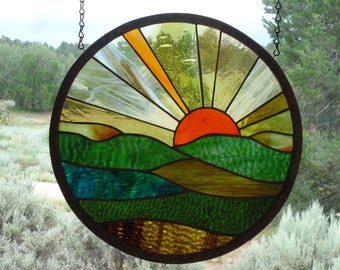 """stained glass window panel"""" FOREVER SUNSET """" European hand blown glasses, hand poured & rolled glass, stained glass suncatcher, sunset"""
