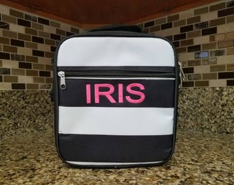 Black and White Stripe lunch bag w/ Detachable Shoulder strap with Personalized Name or Monogram-School lunch bag