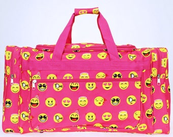 "Pink Emoji Icons 22"" Duffel Bag with Embroidery for summer camps, family trips, birthday gift, back to school, field trip"