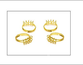 4 multi loop ring finding blanks, shiny gold finish, ring blanks, bling rings, jewellery making, jewellery supplies,  UK seller