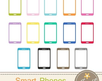 50% OFF Smart Phones Clipart, Cell Phone, Tablet, Phablet for Planners, Digital Scrapbooking, Invitations, cupcake toppers, Stickers, Labels