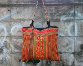 Shoulder Bag, hmong hill tribe, vintage, big handbag, shopper, unique, thai cotton, embroided, ethnic, boho, leather, chic, orange, handmade