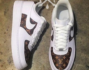 Nike Louis Vuitton LV Air Force 1 One Low Luxury Designer Custom Men's White Sneaker