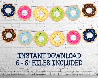 "Donut Banner - INSTANT DOWNLOAD - 6 - 6"" Donut Banner Files"