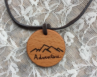 Essential Oil Diffuser Necklace, Wood Diffuser Adventure Necklace, Mountain Range Necklace, Hiker Necklace, Hikers Gift, Gifts for Hiker