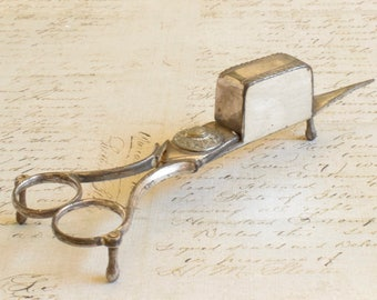 Antique Georgian candle snuffer and wick trimmer, silver metal