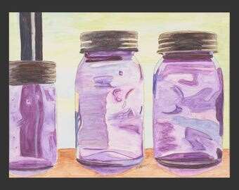 Jars In A Window - a watercolor painting