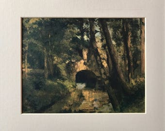 Original 1950's Vintage Pissaro Book Plate print - The little bridge near Pontoise - Matted, Mounted & Perfect for framing