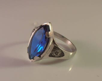 Sterling Sapphire Blue Ring, Crest on Sides, Marquis Gemstone