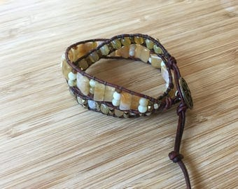 CatMar Beaded Yellow Opal Artisan Wrap Bracelet with Brown Leather and Antique Bronze Button