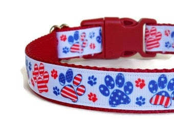 Pre-Made/Ready-to-Ship Patriotic Red, White, & Blue Paw Prints Dog Collar- American Flag Inspired (Buckle)