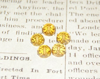 10 round beads 8mm amber Crystal