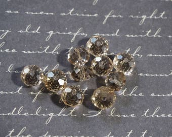 10 round beads in light champagne faceted Czech crystal 8x6mm