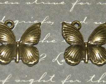 2 charms 17x18mm bronze metal Butterfly